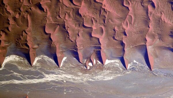 Пески Намибии снятые с борта МКС космонавтом Роскосмоса Сергеем Рязанским