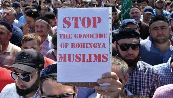 Митинг в Грозном в поддержку мусульман народа рохинджа. Архивное фото