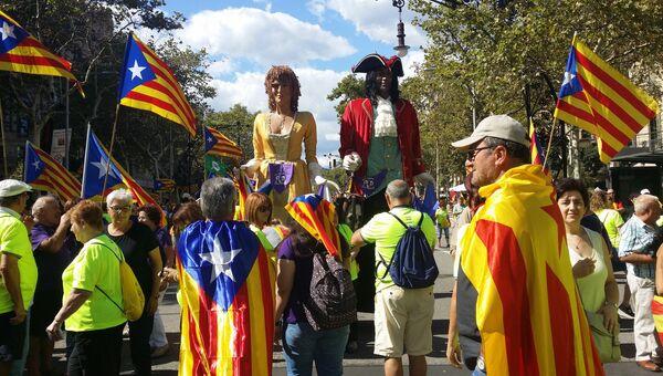 Празднование Национального дня Каталонии в Барселоне. 11 сентября 2017