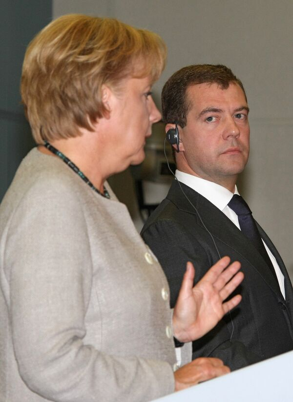 Канцлер Германии Ангела Меркель и президент России Дмитрий Медведев