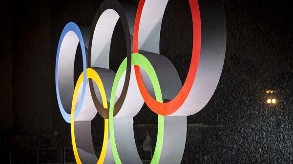 Олимпийские кольца на площади Трокадеро в Париже