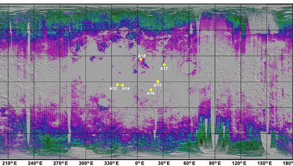 Карта запасов воды на Луне, составленная по данным индийского зонда Чандраян