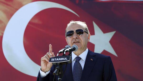 Президент Турции Реджеп Тайип Эрдоган выступает с речью в Стамбуле. Архивное фото