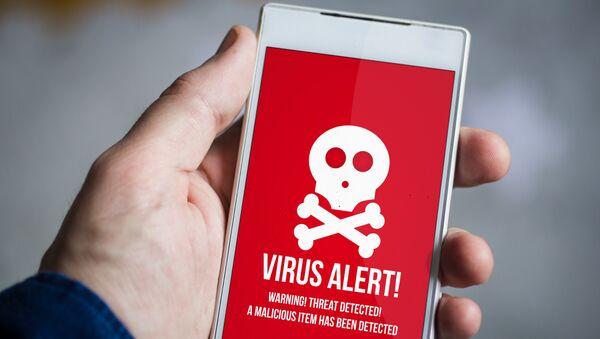 Предупреждение о вредоносном ПО на экране смартфона