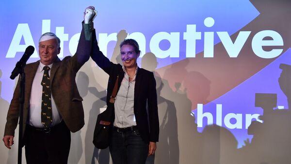 Кандидаты от партии Альтернатива для Германии Александер Голенд и Элис Вейдел во время подсчета голосов на парламентских выборых в Германии. 24 сентября 2017