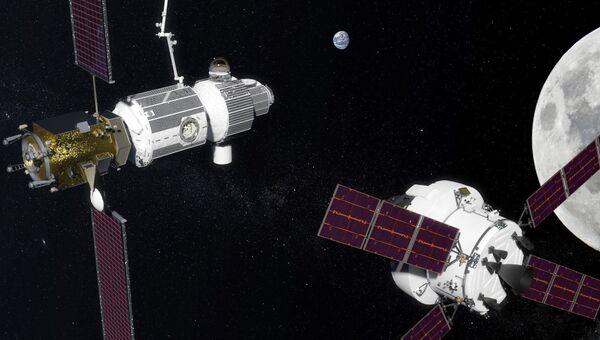 Космические корабли на орбите Луны