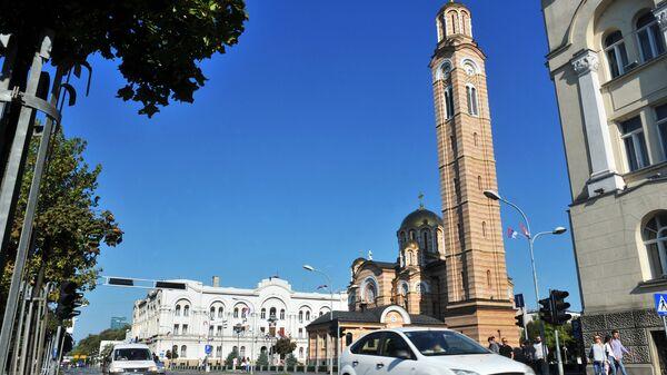 Вид на центр города Баня-Лука, Босния и Герцеговина, архивное фото
