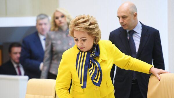 Председатель Совета Федерации РФ Валентина Матвиенко перед началом парламентских слушаний в Совете Федерации РФ. 2 октября 2017