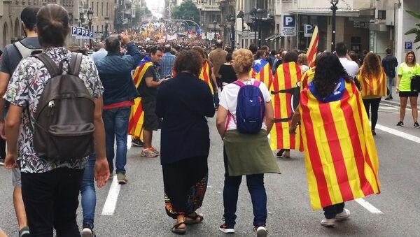 Всеобщая забастовка в Барселоне, Испания. 3 октября 2017