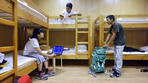 Постояльцы хостела Новый Арбат в своей комнате