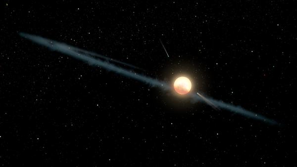 Иллюстрация, на которой изображено гипотетическое неровное кольцо пыли, вращающееся вокруг KIC 846285