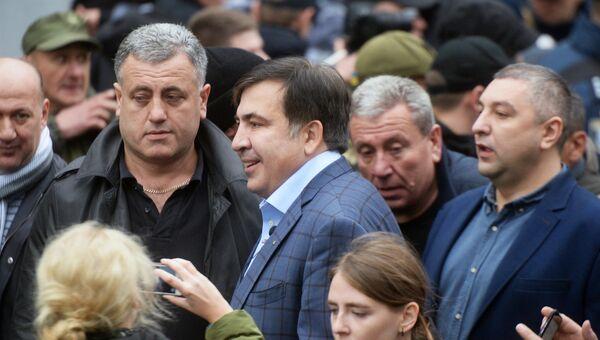 Михаил Саакашвили на акции протеста в Киеве. 17 октября 2017