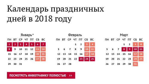 Календарь праздничных дней в 2018 году
