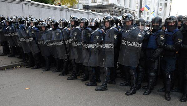 Сотрудники полиции Украины во время акции протеста. Архивное фото