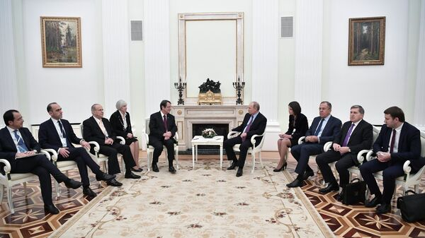 Президент РФ Владимир Путин и президент Кипра Никос Анастасиадис во время встречи. 24 октября 2017