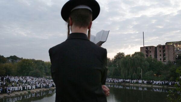 Паломники во время празднования еврейского нового года в городе Умань на Украине