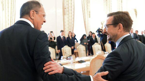 инистр иностранных дел РФ Сергей Лавров и генеральный секретарь ОБСЕ Томас Гремингер во время встречи в Москве. 3 ноября 2017