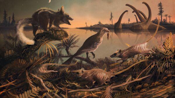 Так художник представил себе древнейших млекопитающих, живших на территории Англии 145 миллионов лет назад