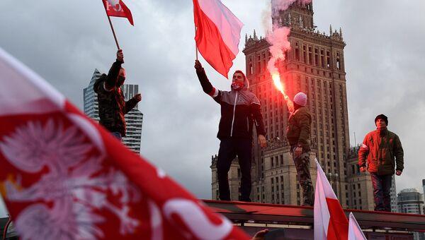 Во время ежегодного марша в честь Дня национальной независимости Польши в Варшаве. 11 ноября 2017