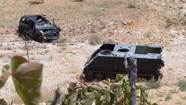 Сгоревшая техника террористов в Сирии. Архивное фото