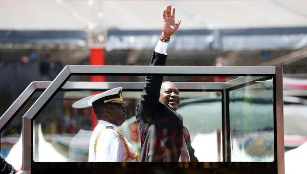 Президент Кении Ухуру Кениата на церемонии инаугурации на стадионе Касарани в столице Кении Найробе. 28 ноября 2017
