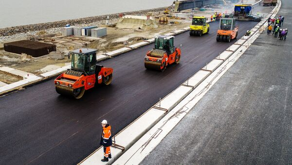 Строительство Крымского моста. 3 декабря 2017. Архивное фото
