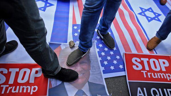 Протест в городе Газа против решения президента США Дональда Трампа признать Иерусалим столицей Израиля