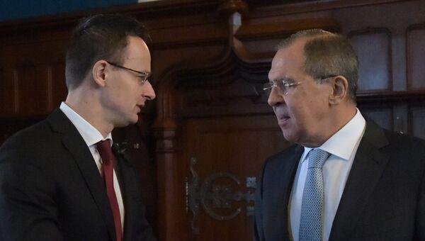 Встреча глав МИД РФ и Венгрии С. Лаврова и П. Сиярто. Архивное офто