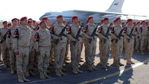 Российские военнослужащие на авиабазе Хмеймим в Сирии. 11 декабря 2017
