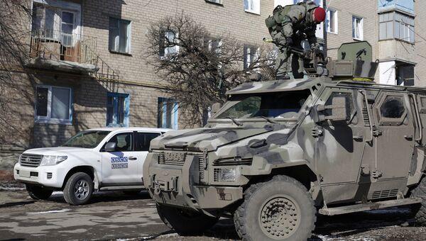 Украинский военный в Соледаре Донецкой области. Архивное фото