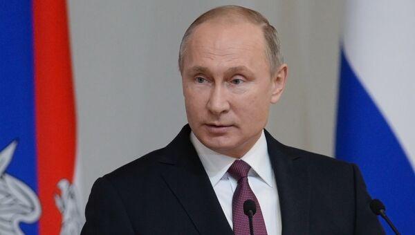 Президент РФ Владимир Путин на расширенном заседании коллегии министерства обороны. 22 декабря 2017
