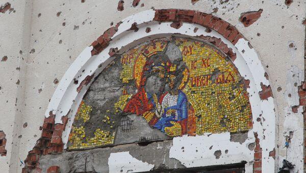 Храм в честь Иверской иконы Божией Матери женского Донецкого Иверского монастыря, расположенного у аэропорта города Донецка и разрушенного в ходе боевых действий на Юго-Востоке Украины