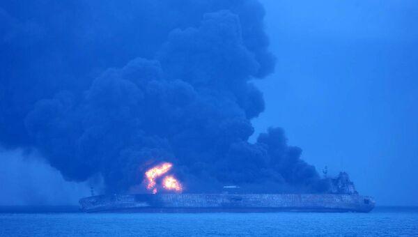 Место столкновения панамского танкера с гонконгским сухогрузом у берегов Китая. 7 января 2018 года