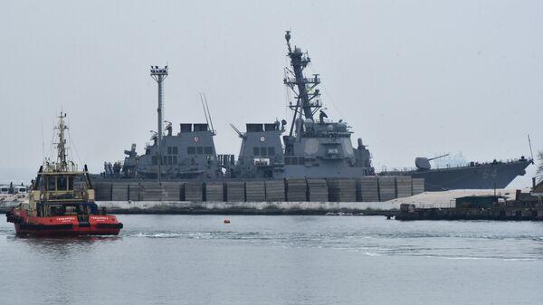 Эсминец ВМС США Карни (Carney DDG64) в порту Одессы. 8 января 2018