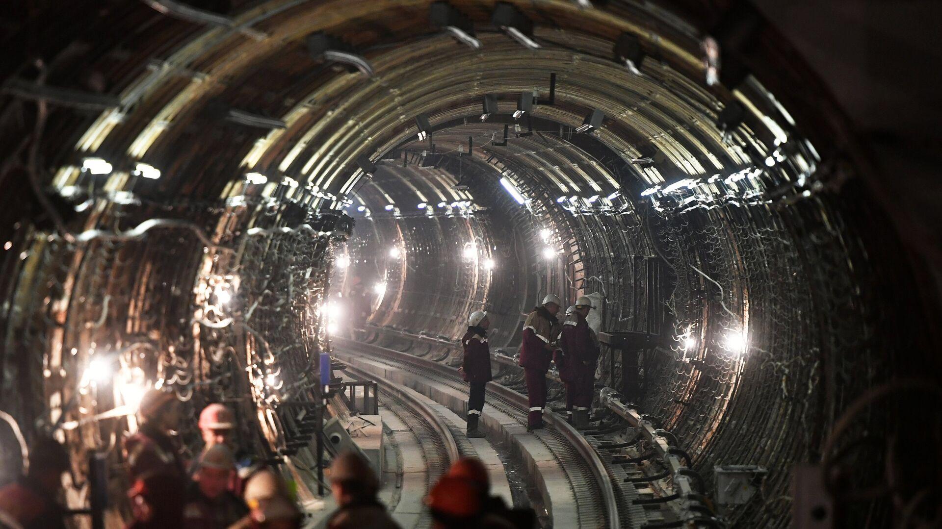 Тоннель строящейся станции московского метро - РИА Новости, 1920, 02.03.2021