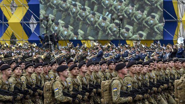 Морская пехота Украины на военном параде по случаю 25-летней годовщины со Дня Независимости Украины в Киеве