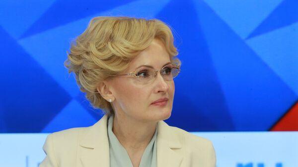 Заместитель председателя Государственной Думы РФ Ирина Яровая на пресс-конференции, посвященной исполнению закона о торговле. 16 января 2018
