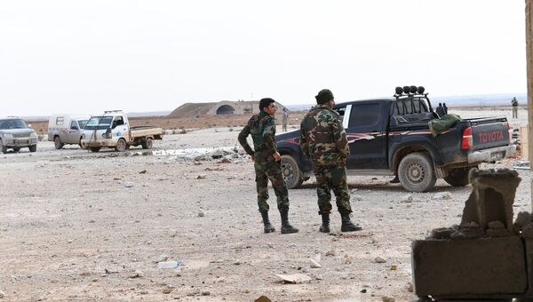 Сирийские военные в аэропорту Абу-Дхоу в провинции Идлиб, Сирия. 21 января 2018