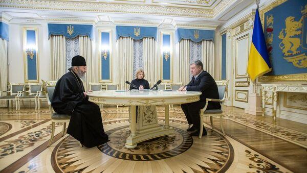 Встреча президента Украины Петра Порошенко с предстоятелем УПЦ МП митрополитом Онуфрием. Архивное фото