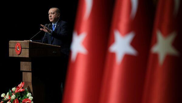 Президент Турции Тайип Эрдоган выступает на церемонии в Анкаре, Турция. 22 января 2018