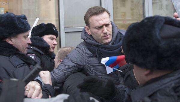 Задержиние Алексея Навального во время несанкционированной акции в Москве в рамках Забастовки избирателей. 28 января 2018