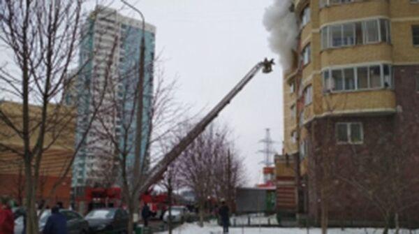 Пожар на Южном бульваре 6 в Красногорске Московской области. 28 января 2018