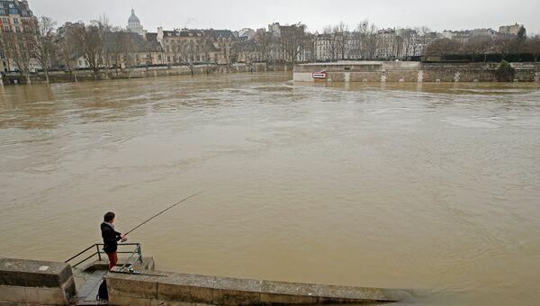 Затопленные берега реки Сены в Париже, Франция. 27 января 2018
