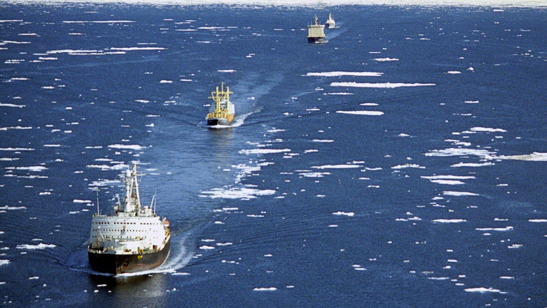 Караван транспортных судов в сопровождении ледоколов проходит по Северному морскому пути - РИА Новости, 1920, 01.04.2021
