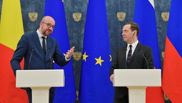 Председатель правительства РФ Дмитрий Медведев и премьер-министр Бельгии Шарль Мишель во время встречи. 30 января 2018