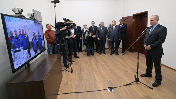 Владимир Путин во время видеоконференции по случаю запуска четвертого энергоблока Ростовской АЭС. 1 февраля 2018
