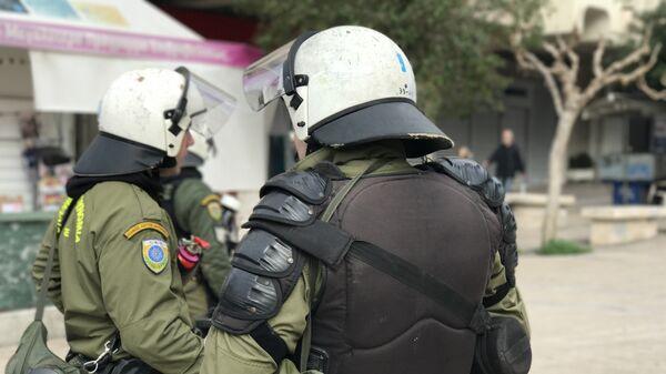 Спецназ на митинге в Афинах