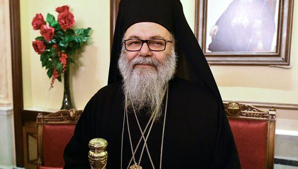 Патриарх Антиохийский и всего Востока Иоанн Х  во время встречи с межконфессиональной делегацией религиозных деятелей из России в Дамаске. 5 февраля 2018