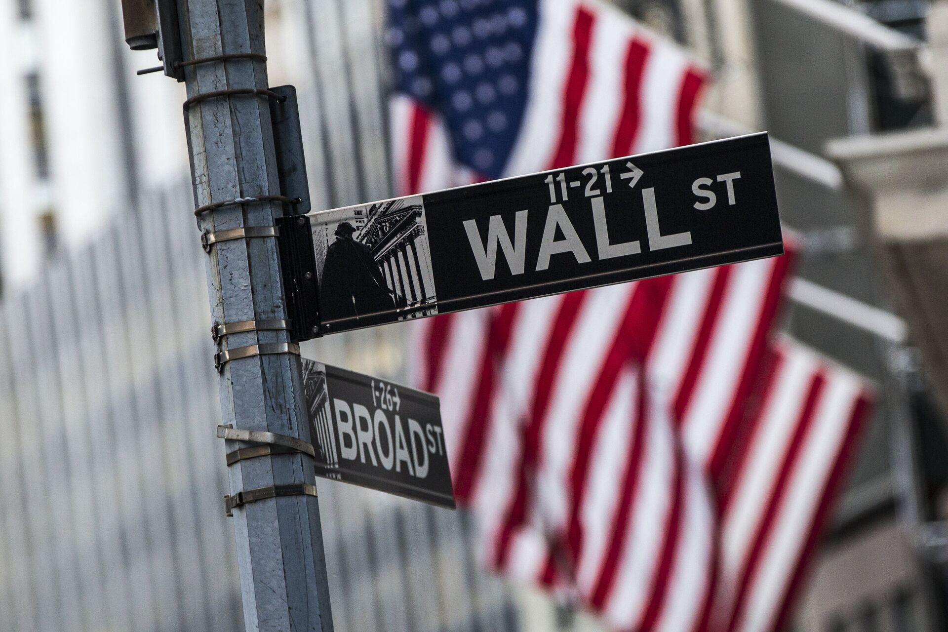 Информационный указатель на Уолл-стрит в Нью-Йорке - РИА Новости, 1920, 19.11.2020