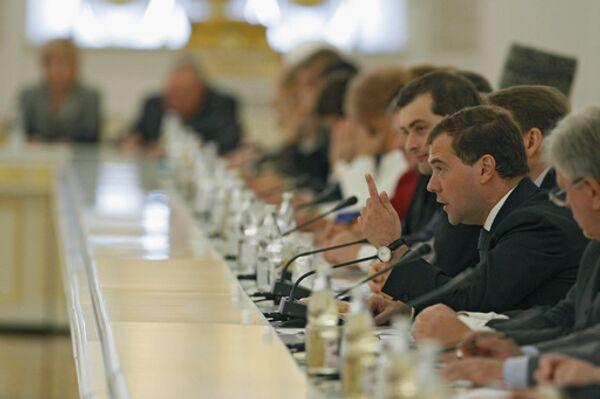Президент России Дмитрий Медведев во время встречи в Кремле с представителями российских общественных организаций